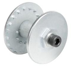 Специальное двойное колесо-держатель для закрепления щеток грубой очистки