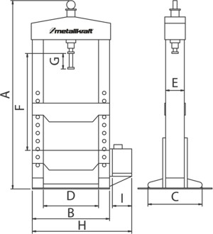 Размеры прессов Metallkraft